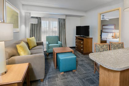 living area | 1 King 2 Double Beds 2 Bedroom 2 Bath Suite Non-smoking |  Homewood Suites by Hilton Phoenix - Metro Center