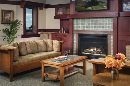 Fireplace | Blacker Suite + Palisade Queen | The Lodge at Torrey Pines