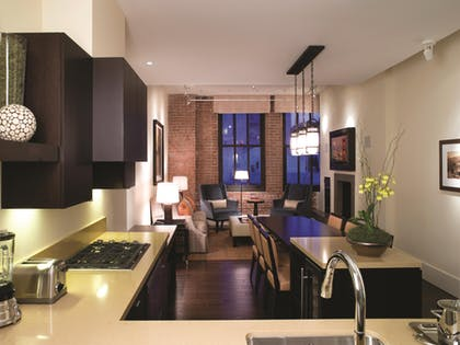 Kitchen | Living Room | Dining Room | Three Bedroom City View Residence | Fairmont Heritage Place, Ghirardelli Square