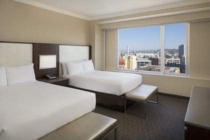 Bedroom | Corner 1 Bedroom Suite with 2 Beds - Tower 1 | Hilton San Francisco Union Square