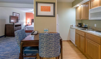 Studio Kitchen and Dining | 1 King Bed Studio Suite | Homewood Suites by Hilton Sarasota