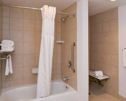 3x3 Transfer Shower | 1 King 1 Bedroom Suite Mobility Accessible with Roll-In Shower | Hilton Garden Inn Yuma Pivot Point